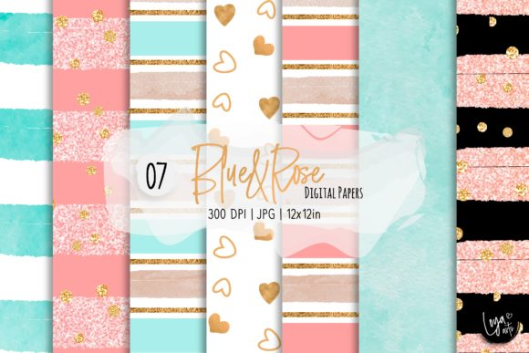 Print on Demand: Blue and Rose Digital Paper Set Graphic Backgrounds By loyaarts
