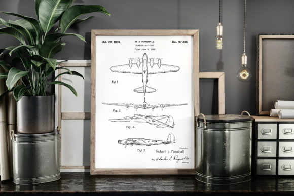Print on Demand: Bombing Airplane Vintage Patent Poster Graphic Illustrations By Antique Pixls