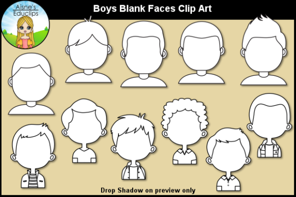 Print on Demand: Boys Blank Faces Clip Art Graphic Teaching Materials By Aisne Educlips