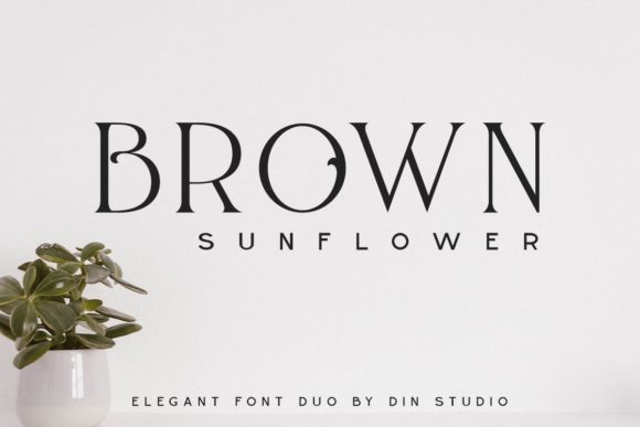Print on Demand: Brown Sunflower Serif Fuente Por Din Studio