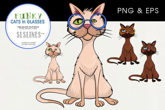 Print on Demand: Cats in Funny Glasses Graphic Illustrations By SLS Lines