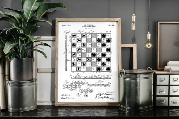 Print on Demand: Checker and Chess Board 1923 Patent Art Graphic Illustrations By Antique Pixls