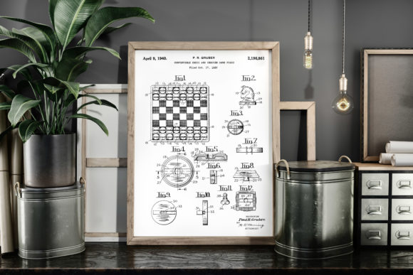 Print on Demand: Chess and Checker Game Piece Patent Art Graphic Illustrations By Antique Pixls