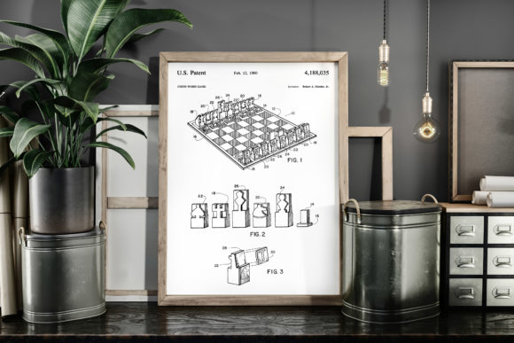 Print on Demand: Chess Word Game 1980 Patent Art Poster Graphic Illustrations By Antique Pixls