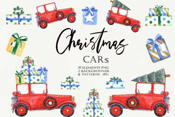 Print on Demand: Christmas Cars Clipart Graphic Illustrations By evgenia_art_art