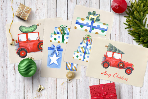 Christmas Cars Clipart Graphic Download