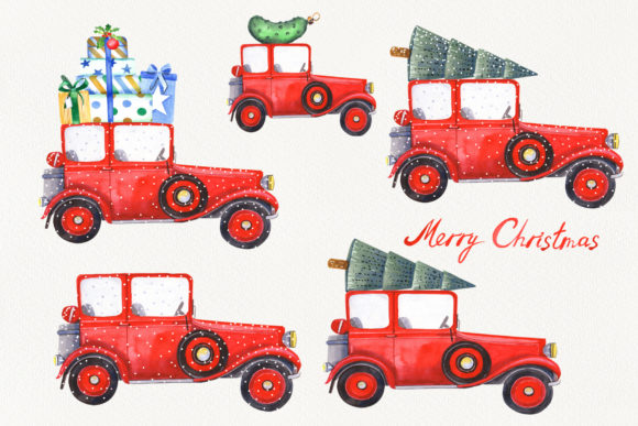 Christmas Cars Clipart Graphic Item
