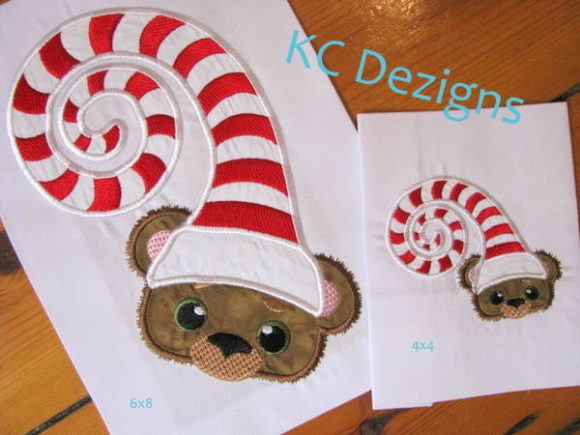 Christmas Critter Bear with Sleeping Hat Christmas Embroidery Design By karen50