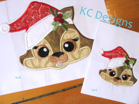 Christmas Critter - Chimp Christmas Embroidery Design By karen50
