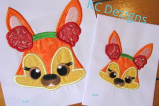 Christmas Fox with Ear Warmers Christmas Embroidery Design By karen50