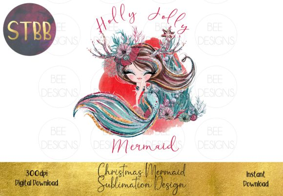 Christmas Mermaid Sublimation Design Graphic Illustrations By STBB