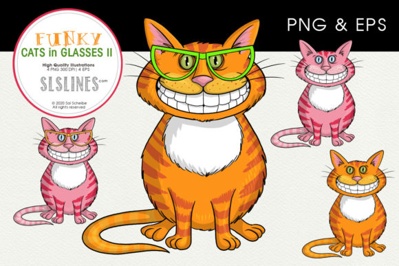 Print on Demand: Chubby Cats in Funky Glasses Graphic Illustrations By SLS Lines