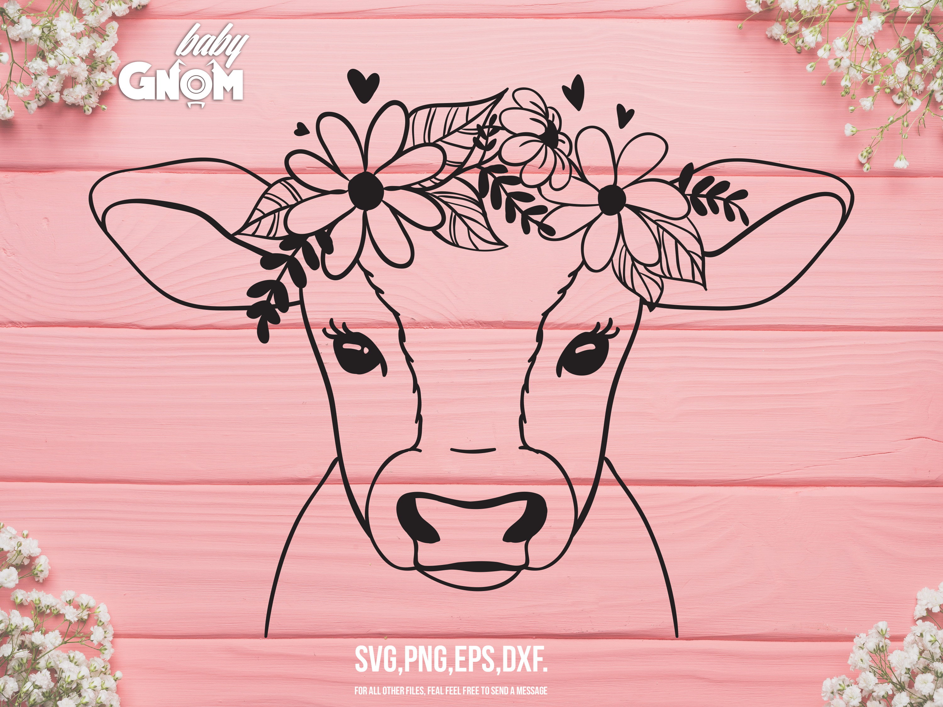 Cow with Flower Crown SVG File