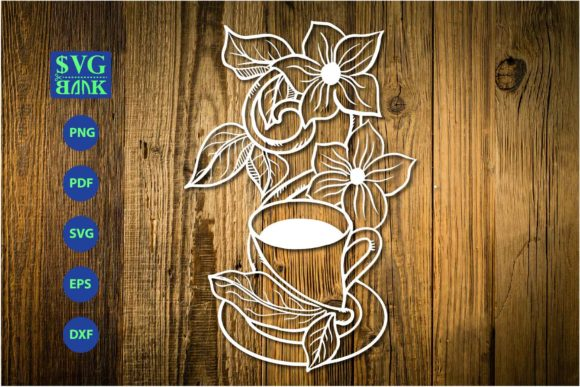 Print on Demand: Cup of Coffee with Flower Graphic Crafts By svgBank