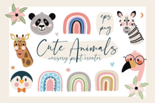 Print on Demand: Cute Animals Nursery Print Creator Graphic Illustrations By Caoca Studio
