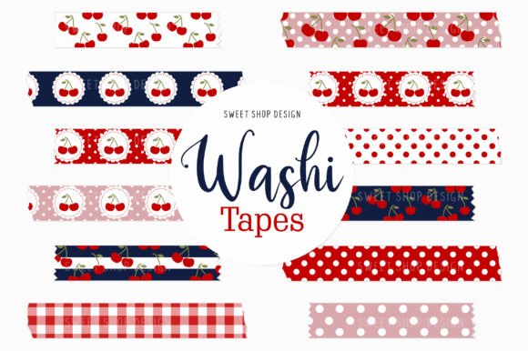 Digital Washi Tape Clipart Cherries Graphic Illustrations By Sweet Shop Design