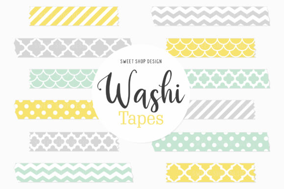 Digital Washi Tape Clipart Mint & Yellow Graphic Illustrations By Sweet Shop Design