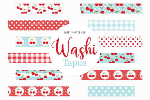 Digital Washi Tape Clipart Red Cherries Graphic Illustrations By Sweet Shop Design