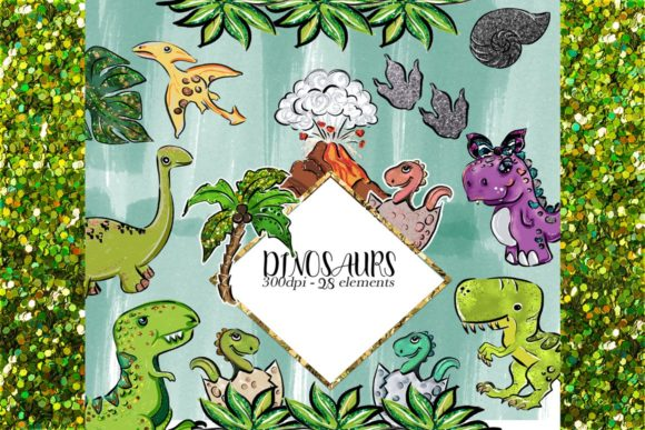 Print on Demand: Dinosaurs Clipart Set Graphic Illustrations By TheGGShop