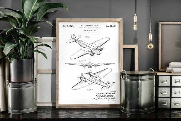Print on Demand: Double Deck Transport Airplane Patent Graphic Illustrations By Antique Pixls