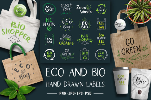 Eco and Bio Hand Drawn Labels Graphic Illustrations By Lemon Workshop