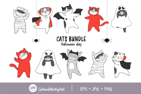 Funny Cat Wear Costume for Halloween Graphic Illustrations By CatAndMe