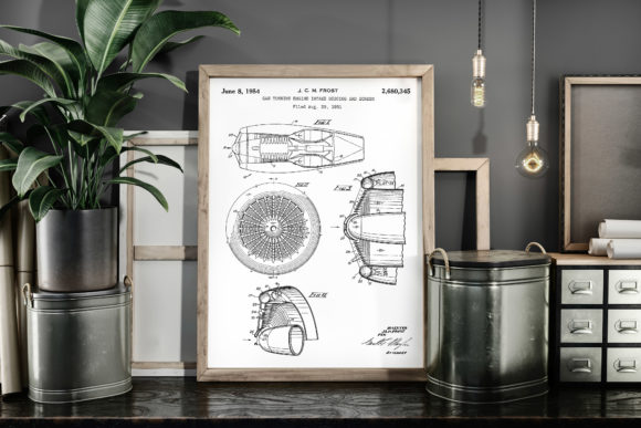 Print on Demand: Gas Turbine Engine Vintage Patent Poster Graphic Illustrations By Antique Pixls