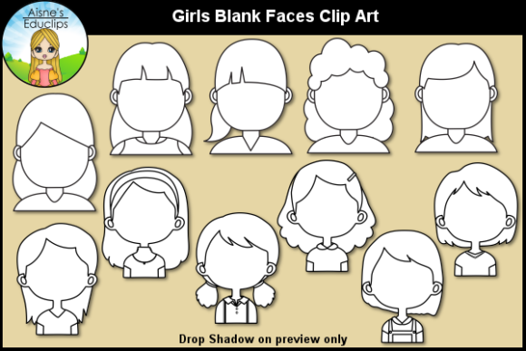 Print on Demand: Girls Blank Faces Clip Art Graphic Teaching Materials By Aisne Educlips