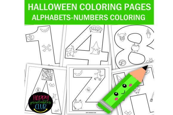 Halloween Alphabets - Numbers Coloring Graphic