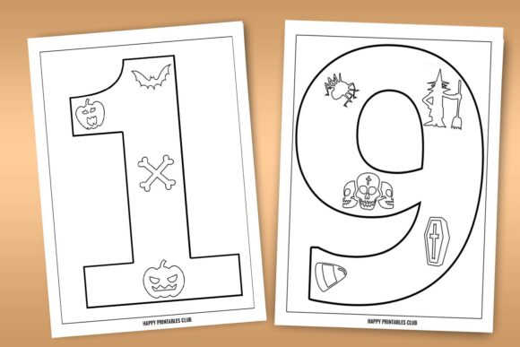 Halloween Alphabets - Numbers Coloring Graphic Download