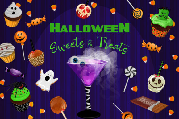 Halloween Sweets & Treats Clipart Set Graphic Illustrations By Dapper Dudell