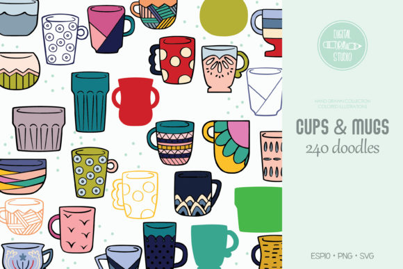 Hand Drawn Coffee Cups & Tea Mugs Color Graphic Illustrations By Digital_Draw_Studio