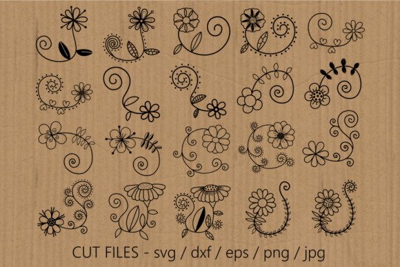 Hand Drawn Doodle Daisy Flower Cut Files Graphic Download