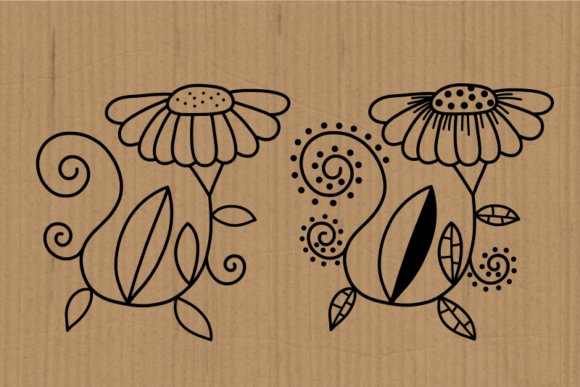 Hand Drawn Doodle Daisy Flower Cut Files Graphic Preview
