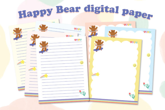 Happy Bear Printable Digital Paper Note Graphic Graphic Templates By iareCotton Duck
