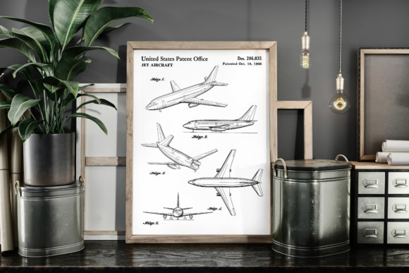 Print on Demand: Jet Aircraft 1966 Patent Art Poster Graphic Illustrations By Antique Pixls