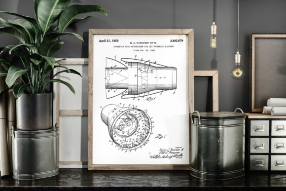 Print on Demand: Jet Aircraft Afterburner Patent Poster Graphic Illustrations By Antique Pixls
