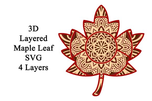 Layered Maple Leaf Mandala SVG Graphic 3D SVG By Digital Honey Bee