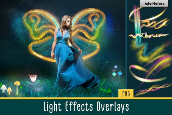Print on Demand: Light Effects Overlays Graphic Layer Styles By MixPixBox