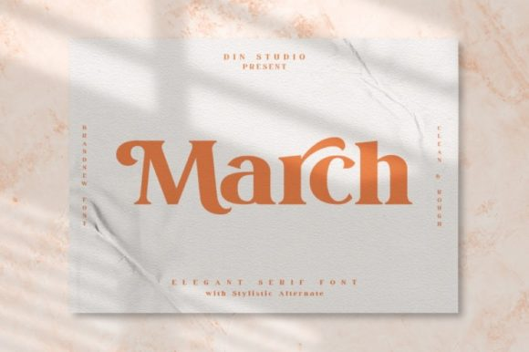Print on Demand: March Serif Font By Din Studio