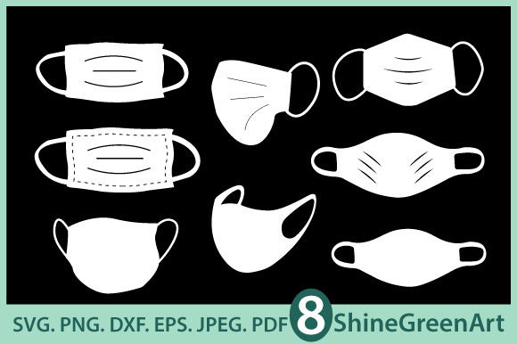 Print on Demand: Mask Bundle - 8 Face Mask Realistic Graphic Crafts By ShineGreenArt