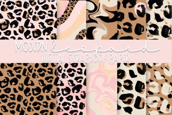 Modern Leopard Digital Paper Graphic Illustrations By Fairways and Chalkboards