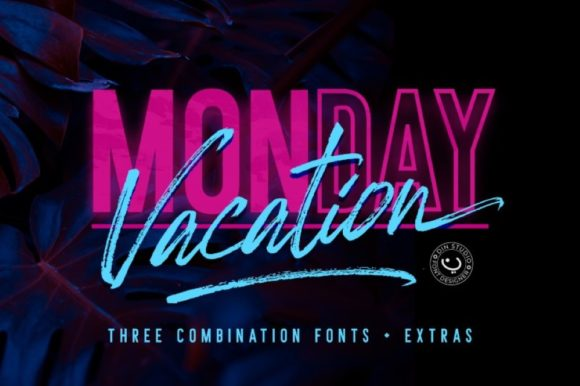 Print on Demand: Monday Vacation Display Font By Din Studio