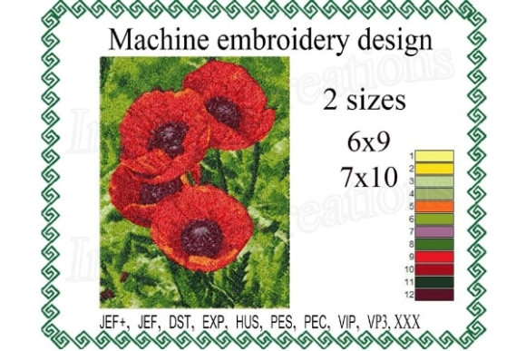 Photo Stitch Poppy Bouquets & Bunches Embroidery Design By ImilovaCreations
