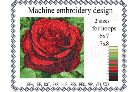Photo Stitch Rose Single Flowers & Plants Embroidery Design By ImilovaCreations