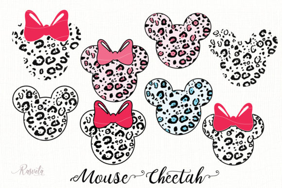 Pink Leopard Print Mouse Ears Graphic Illustrations By Rasveta