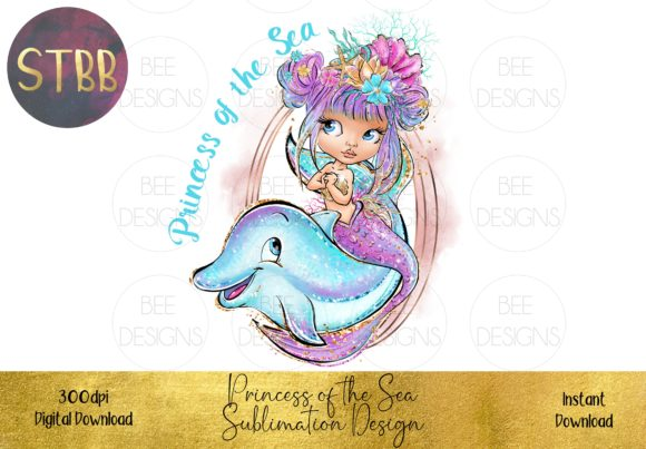 Princess of the Sea Sublimation Design Graphic Illustrations By STBB