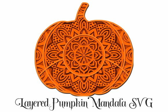 Pumpkin Mandala Graphic 3D SVG By Digital Honey Bee
