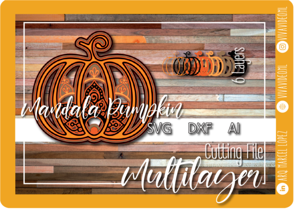 Pumpkin Mandala, Halloween Graphic 3D SVG By Marcel de Cisneros