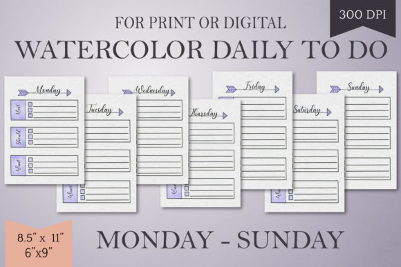Print on Demand: Purple Watercolor Daily to Do List-Mo-Su Graphic Print Templates By Digital Town